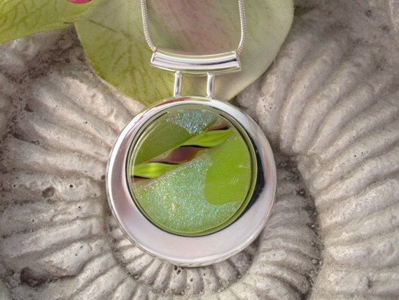 Dichroic Glass Pendant -  Dichroic Fused Glass Jewelry -  Slide Necklace 032112p109