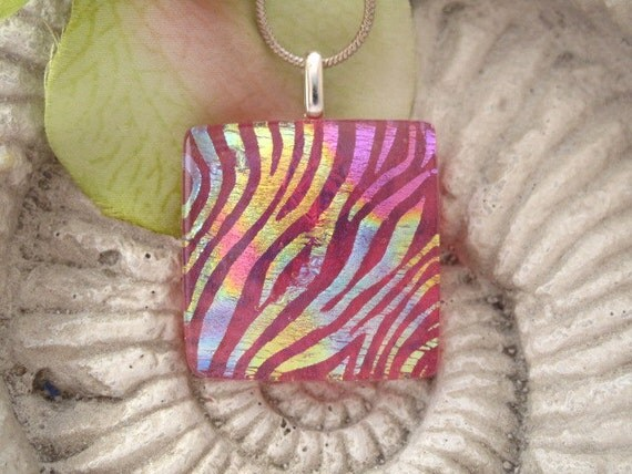 Pink Rainbow Necklace - Dichroic Glass Pendant  -  Dichroic Fused Glass Jewelry  -  Fused Glass -  Necklace 041913p114