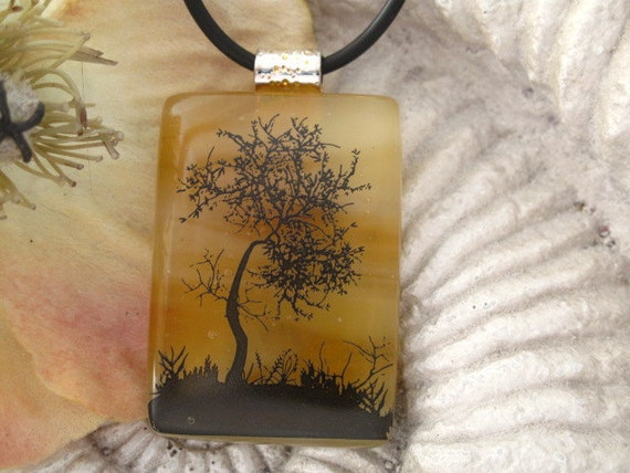 Dichroic Glass Pendant -  Tree - Amber  - Dichroic Fused Glass Jewelry - Necklace 032812p102