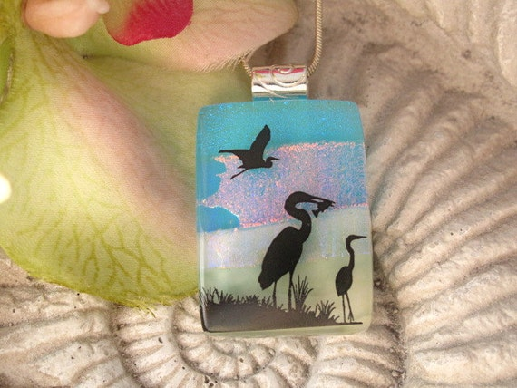 Heron Necklace - Dichroic Fused Glass Jewelry -  Dichroic Glass Pendant -  Necklace - Bird 041913p118