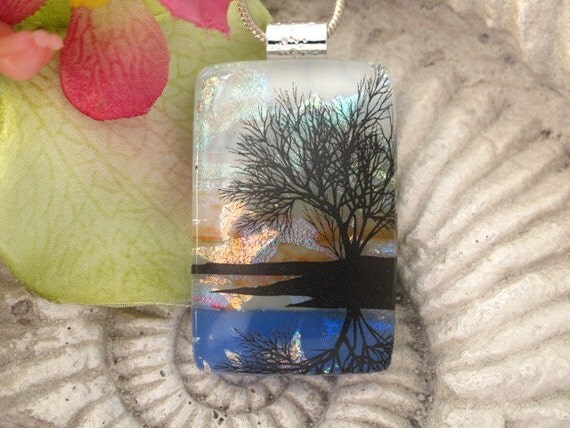 Reflection Tree - Dichroic  Fused Glass Jewelry -  Necklace - Fused  Glass Pendant - 040312p101