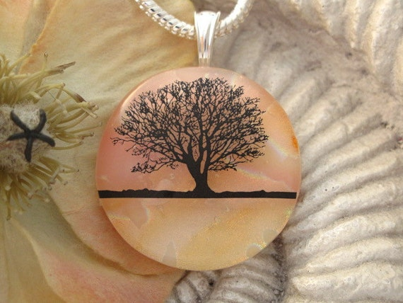 Sunset Horizon Tree - Dichroic Fused Glass Jewelry -  Fused Dichroic Glass Pendant and Necklace 040312p109