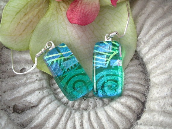 Dichroic Glass Earrings - Dichroic Fused  Glass Jewelry - Emerald Green  Aqua  - 041412e108