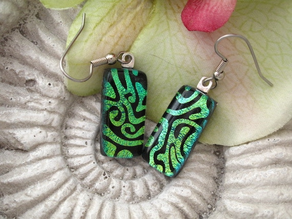 Dichroic Glass Earrings - Dichroic Fused  Glass Jewelry - Emerald Green Black   - 041412e115
