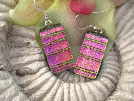 Dichroic Glass Earrings - Pink  Earrings - Dichroic Fused Glass Jewelry - Sterling Silver - Hypo Allergenic - 041612e111