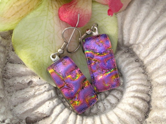 Dichroic Glass Earrings - Hot Pink -  Dichroic Fused Glass Jewelry- Surgical Steel - 14KT GF - Sterling Silver - 041612e117