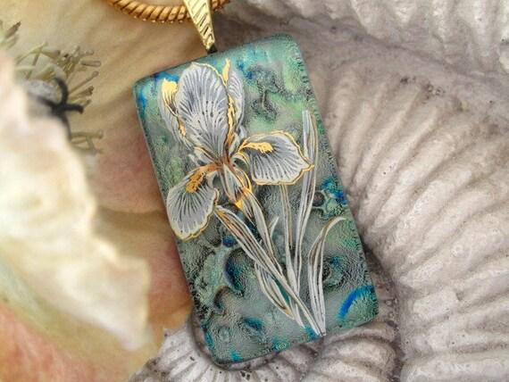 Stunning Sage Green Iris - Fused Glass Pendant - Dichroic Glass Jewelry - Dichroic Pendant Necklace - 042012p107