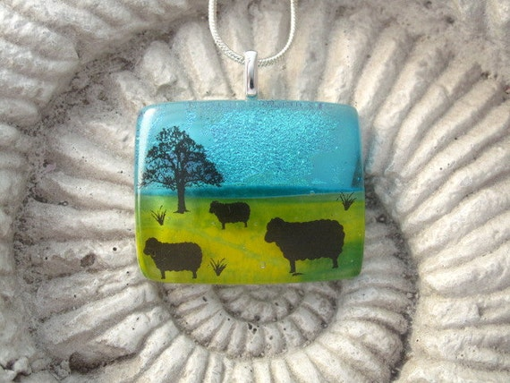 Sheep Necklace - Lamb -  Dichroic Glass Pendant - Dichroic Fused Glass Jewelry - Fused Glass Nature  042112p104