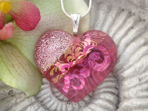 Pink Heart Necklace - Dichroic Glass Jewelry - Fused Glass Heart Pendant  Necklace 042112p111