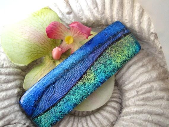 Dichroic Glass Barrette - Hair Barrette - French Barrette - Color Waves -  Fused Dichroic Glass Barrette -  Fused Glass Hair Clip 042312b101