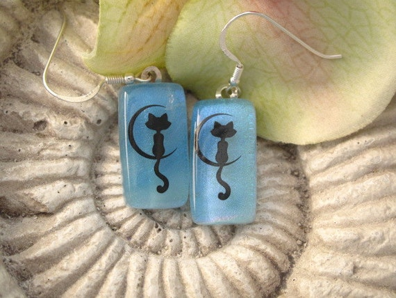 Blue Moonlight Kitty Cat - Dichroic Glass Earrings - Dichroic Fused Glass Jewelry - Sterling Silver Earrings 050212e106