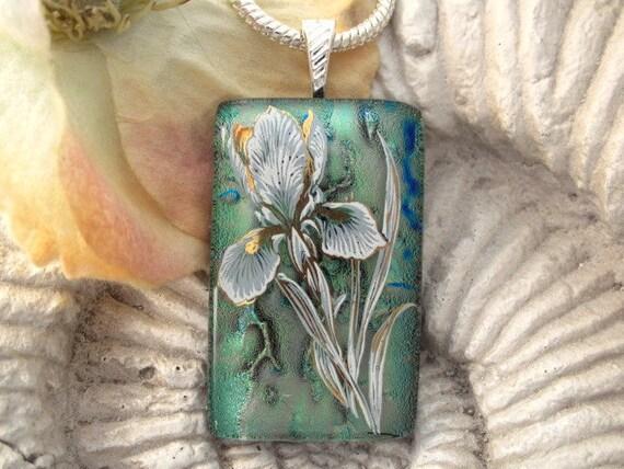 Sage Green Iris - Dichroic Jewelry -Limited Edition - Dichroic Glass Jewelry - Dichroic Pendant Necklace - 050212p103