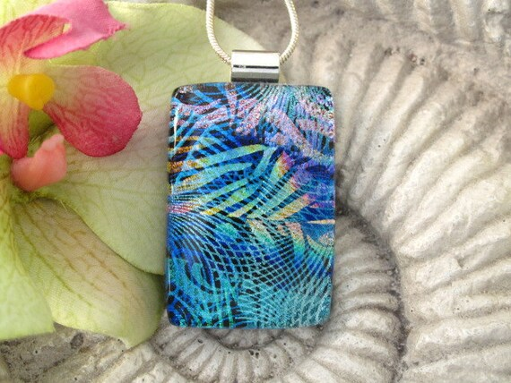 Ooriginal Art - OOAK- Glass Necklace - Contemporary - Dichroic Fused Glass Jewelry - Fused Glass Pendant - Dichroic  Necklace 050312p100