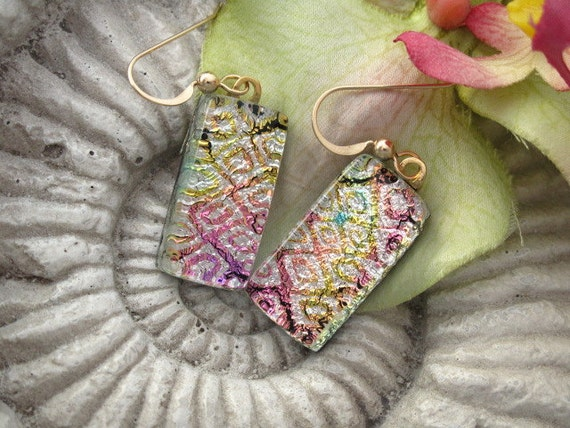 Dichroic Glass Earrings - Rainbow Silver  Pink -  Dichroic Fused Glass Jewelry - 14KT GF 051912e105