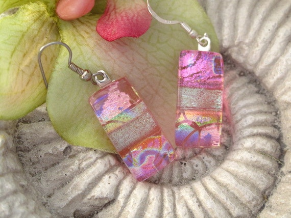 Dichroic Glass Earrings - Pink  Earrings - Dichroic Fused Glass Jewelry - 051912e116