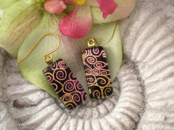 Dichroic Glass Earrings - Golden Pink Swirls - Dichroic Fused Glass Jewelry- Surgical Steel - 14KT GF - 051912e117