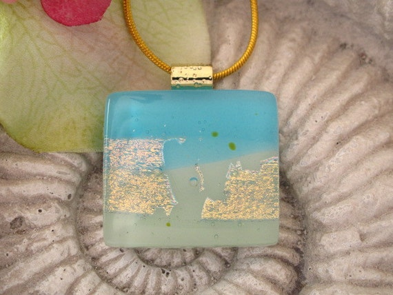 Dichroic Glass Pendant - Beaches -  Dichroic Fused Glass Jewelry  -  Fused Glass -  Necklace 052412p1001