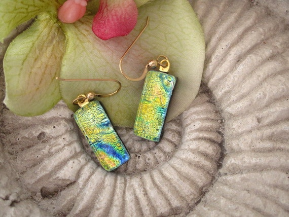 Dichroic Earrings - Dichroic Fused Glass Jewelry - Golden Lemon Lime - Fused Dichroic Glass 14KT Gold Filled Earrings 052412e105