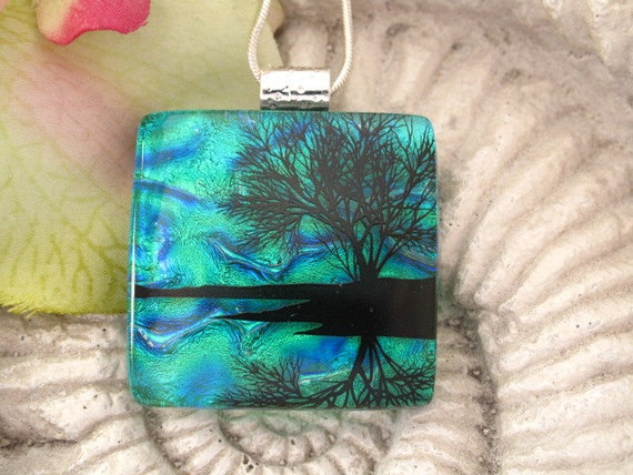 Dichroic Fused Glass Pendant - Dichroic Jewelry -   Reflection TreePendant - Dichroic Glass - Fused Glass -  Water 052612p101