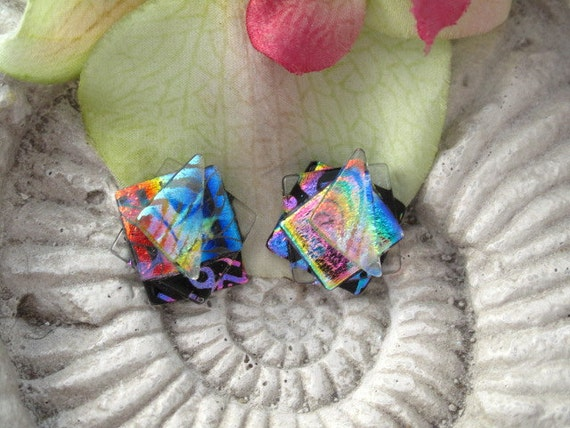 Fused Dichroic Glass Earrings - Confetti Earrings - Dichroic Glass Earrings - Post  - Glass Earrings -  Dichroic Stud Earrings 052812e102