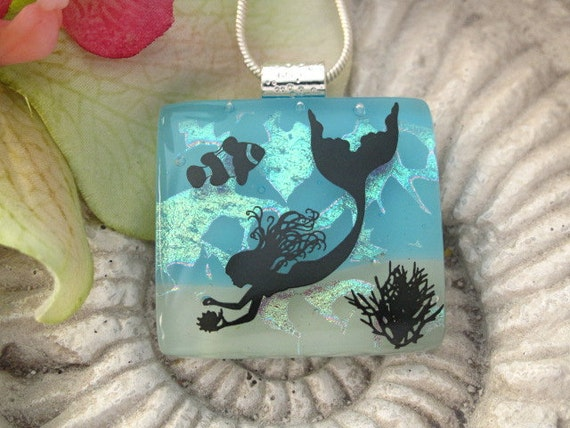 Dichroic Glass Jewelry - Mermaid - Dichroic Fused Glass Jewelry - Fused Dichroic Glass Pendant & Necklace 060312p106