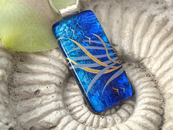 Dichroic Glass Pendant - Dichroic Fused Glass Jewelry - Necklace - Blue Sea Swept  - 061312p100