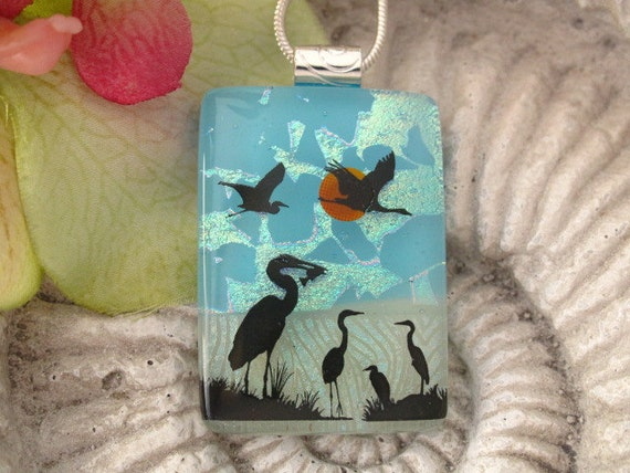 Heron -  Crane Necklace - Dichroic Fused Glass Jewelry -  Dichroic Glass Pendant -  Necklace - Bird 062212p102