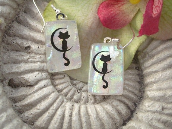 Cat Earrings - Moonlight Kitty Cat - Dichroic Glass Earrings - Dichroic Fused Glass Jewelry - White Opal -  062412e100