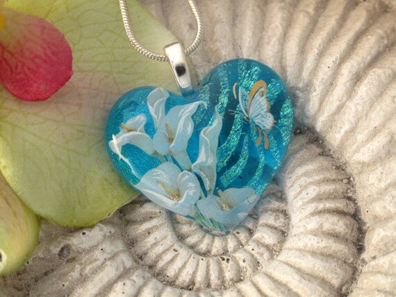 Calla Lily Heart Necklace - Dichroic Glass Pendant - Blue Calla Lily - Dichroic Fused Glass Jewelry -  Heart - Heart Necklace 062512p104