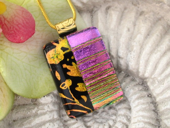 Pink Gold Black Necklace - Fused Dichroic Glass Jewelry -Contemporary Hand Etched Pink & Gold -062512p116