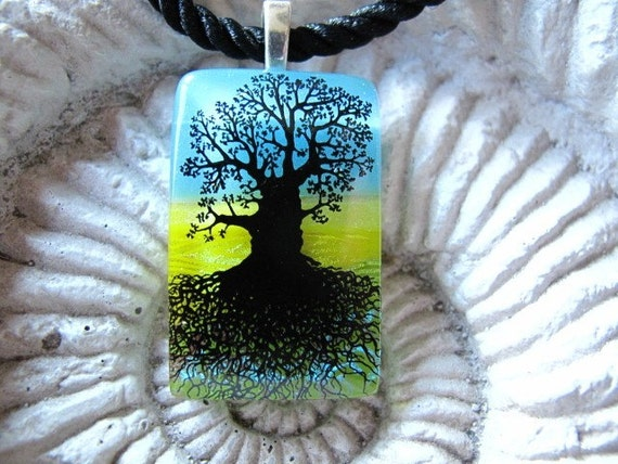Sale Petite Mighty Oak Tree Fused Dichroic Glass Pendant Necklace 092109p103