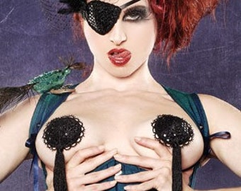 Couture Midnight Black Burlesque Pasties