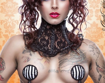 Couture Jail Bird Black and White Stripe Burlesque Pasties