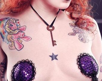 Raspberry Ripple Purple Burlesque Pasties Deluxe