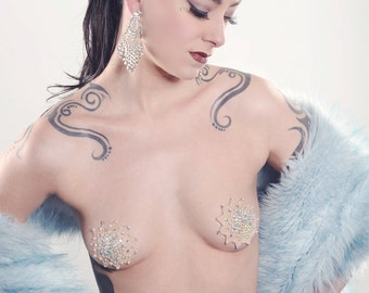 Couture Pearl and Rhinestone Galaxy Burlesque Pasties