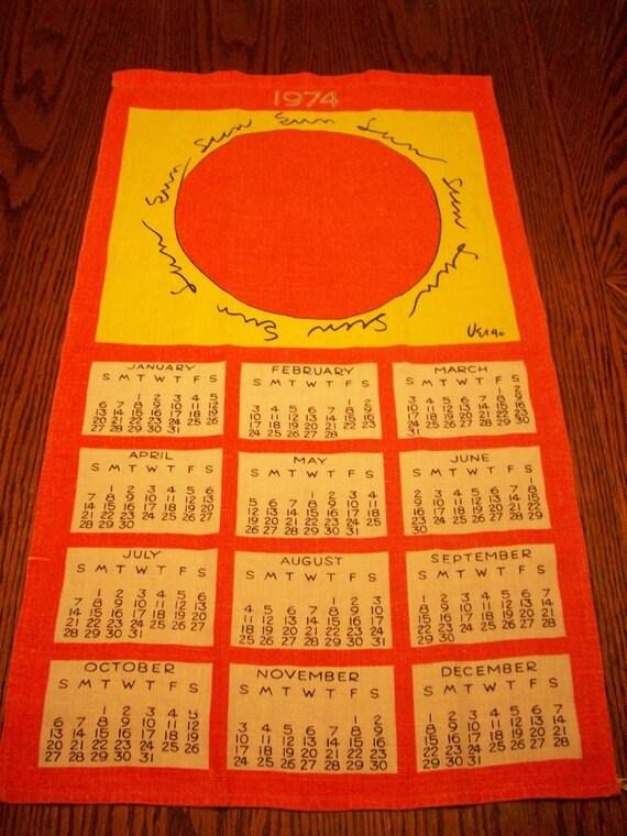 Vintage 1974 70s Calendar Towel  Signed Vera
