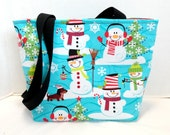 Dachshund Snowman Tote Purse Medium Christmas Wiener Dogs MADE TO ORDER