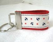 Nautical Key Chain - Small Anchor Key Fob - RED Navy Anchors - Mini Keychain - Anchor Zipper Pull - Handmade Key Ring