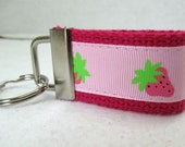 Strawberries Mini Key Fob Pink Fruit Key Chain