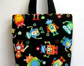 Robot Small Tote - Robots Tall Purse - Silly Robots Tote Bag