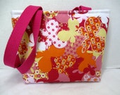 Small Butterfly Tote - Pink Orange Butterflies Purse - Padded Small Purse
