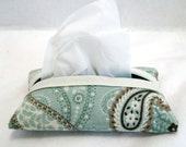 Paisley Tissue Holder Robins Egg Blue Brown Travel Size