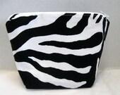 Zebra Make Up Bag Black White Animal Print Zippered Flat Bottom Cosmetic Pouch