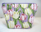 Tulips Make Up Bag Flowers Cosmetic Pouch