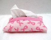 Tissue Holder Breast Cancer Pink Support Ribbon Tissue Cozy