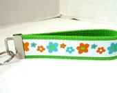 Flowers Key Fob - Bold Floral LIME Green Key Chain - Large Keychain- Last One