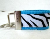 Mini Key Fob Zebra Turquoise Animal Print Key Chain