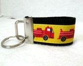 HALF OFF - Fire Truck Key Fob - Mini Fire Engine Keychain - BLACK Key Chain - Fire Truck Zipper Pull