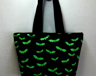 Bat Mini Tote - Halloween Tiny Bag - Lime Bats Mini Purse