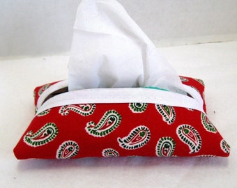 HALF OFF Paisley Tissue Cozy - Christmas Pocket Tissue Holder - Red Green Paisley - Pocket Size Tissue Case